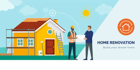 Man talking with a professional contractor and doing a home renovation, they are discussing the project together Ilustracje wektorowe