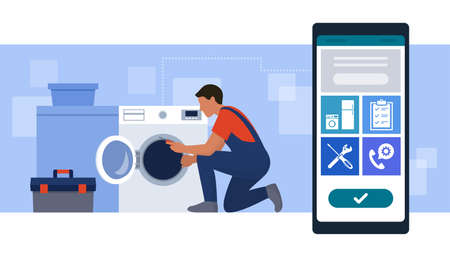 Book a repairman online: professional technician fixing a washing machine at home and smartphone with services icons