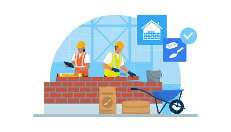 Professional builders laying bricks and checking brickwork