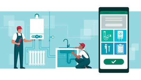 Book a plumber online: professional plumber and heating engineer checking the boiler and home plumbing 向量圖像