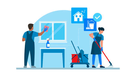 Professional cleaning service working at home, they are cleaning windows and floors 向量圖像