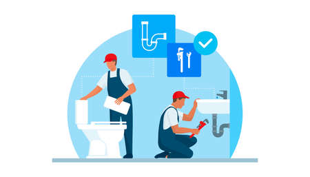 Professional plumbers service, they are unclogging a toilet and fixing the plumbing in a sink