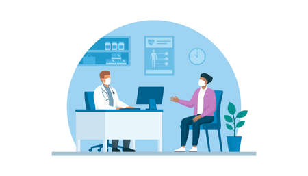 Doctor and patient meeting in the office, they are wearing face masks and talking virus prevention concept