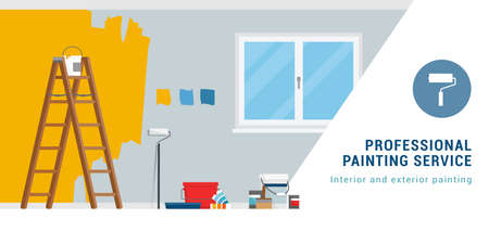 Professional painting service banner with work tools and copy space