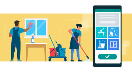 Book cleaning service online: professional cleaners working and mobile app with services