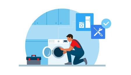 Professional repairman fixing a washing machine at home