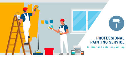 Professional painters and decorators painting walls in a residential room with professional equipment 向量圖像