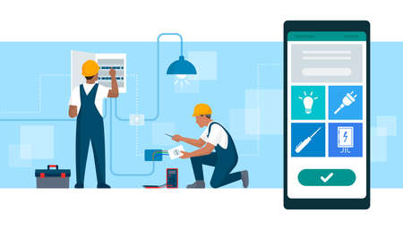 Book an electrician online: professional electricians working and smartphone with services app 向量圖像