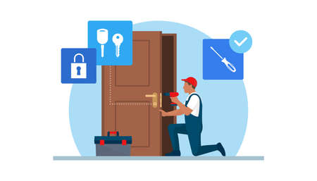 Professional locksmith repairing a door lock using professional tools 向量圖像