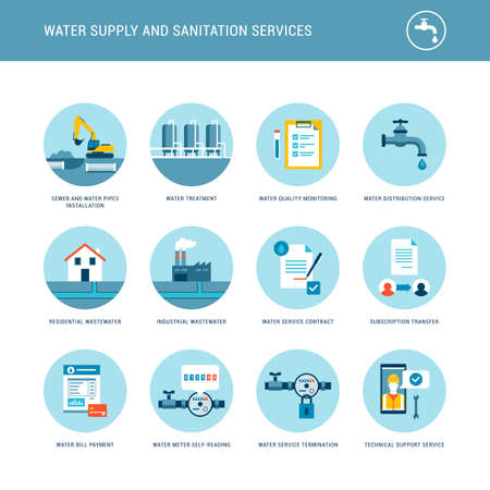 Water supply and sanitation services icons set: water treatment, distribution and collection service provider 向量圖像