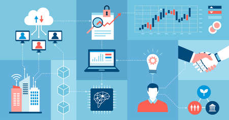 Innovative business technology, AI and data network