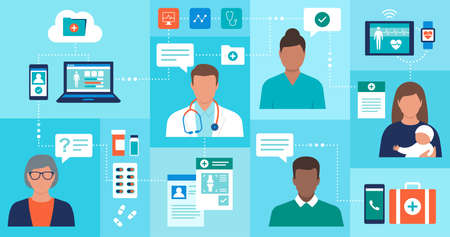 Online doctors giving consultations to the patients and checking electronic medical records 向量圖像