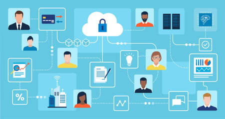Users working remotely and sharing data online, business and technology concept 向量圖像