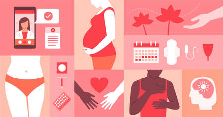 Women's reproductive health, mental health and online medical assistance 向量圖像
