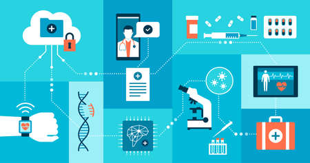 Innovative healthcare, medical research and technology: network of medical data and applications 向量圖像