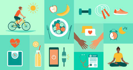 Healthy lifestyle, disease prevention and fitness icons 向量圖像
