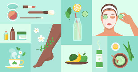 Natural body care and beauty products icons set