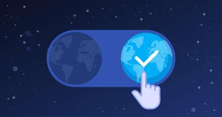 Hand cursor selecting a new earth, evolution concept 向量圖像