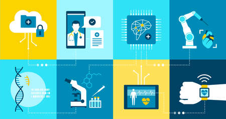 Healthcare and medicine innovation and research icons set