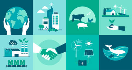 Ecology icons set: environmental protection, smart cities, sustainable industry and agriculture, animal welfare and renewable energy concept