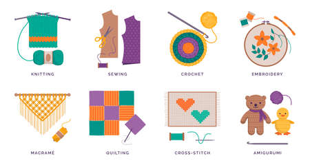 Creative sewing and needlework hobbies set: knitting, sewing, crochet and embroidery, crafts and leisure activities concept 向量圖像
