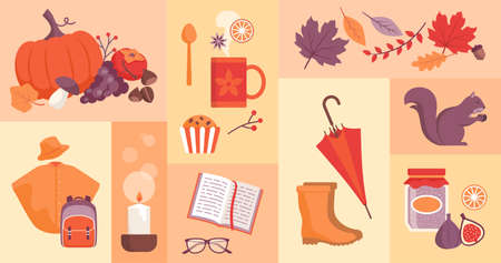 Fall season icons set: food, back to school, nature and objects
