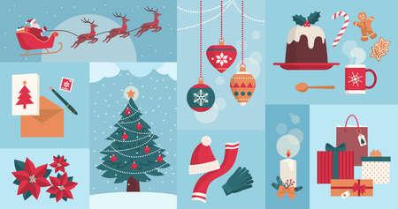 Winter season and Christmas celebrations icons set, winter holidays and lifestyle theme 向量圖像