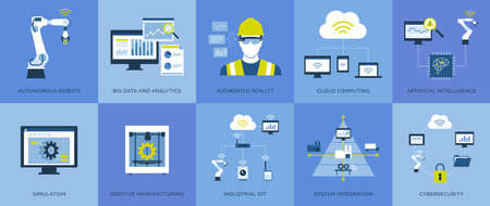 Industry 4.0: automation, industrial IOT, innovative production process and technology, icons set