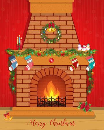 Carte de Noël avec une cheminée décorée. Bonne année.