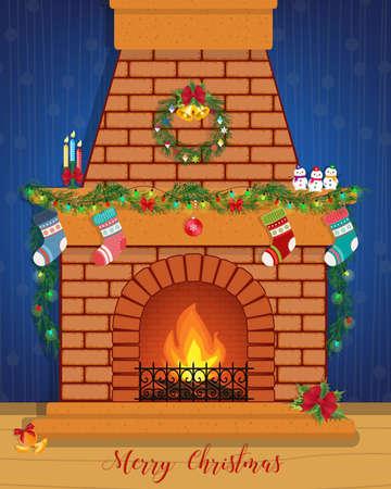Kerstkaart met een versierde open haard. Gelukkig nieuwjaar.