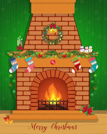 Christmas card with a decorated fireplace. Happy New Year.