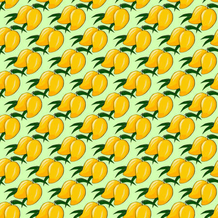 ripe: Ripe mango on a bright background. Seamless background. Vector illustration.Pattern. Illustration