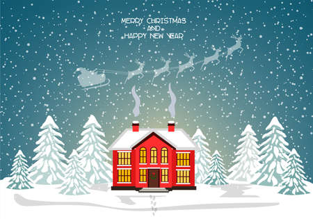 Merry christmas card with house. Vector illustration. Happy new year