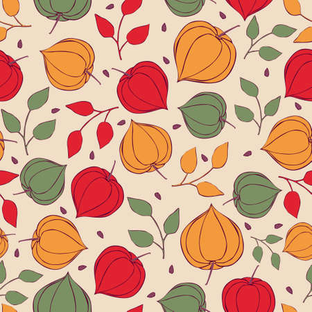 Seamless background physalis flowers. Pattern of bright colors.