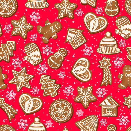 Christmas seamless pattern of snowflakes and gingerbread cookies. Illustration