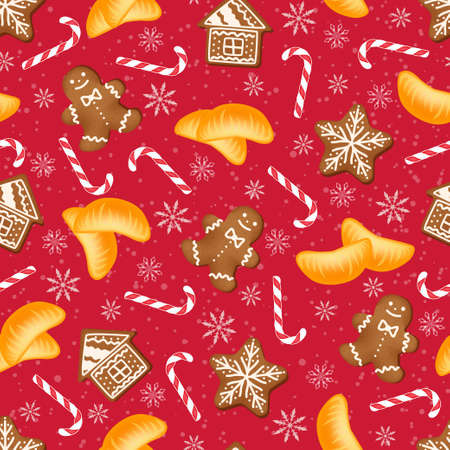 Christmas background with gingerbread and slices of mandarin.