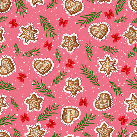 Seamless pattern of ginger cookies, bows and fir branches.