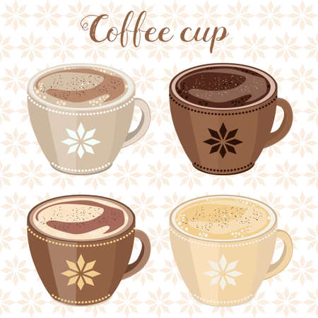 frothy: Four cups of cappuccino with foam, decorated with ornaments. Illustration