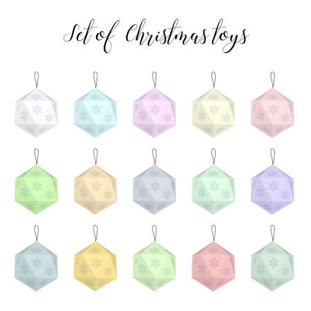 scandinavian: Set of Christmas toys in a Scandinavian style. Different colors.