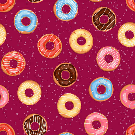 Seamless sweet donuts into the glaze. Pattern.