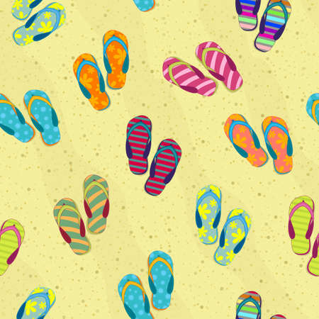 Seamless background with beach slippers on the sand. Summer pattern.