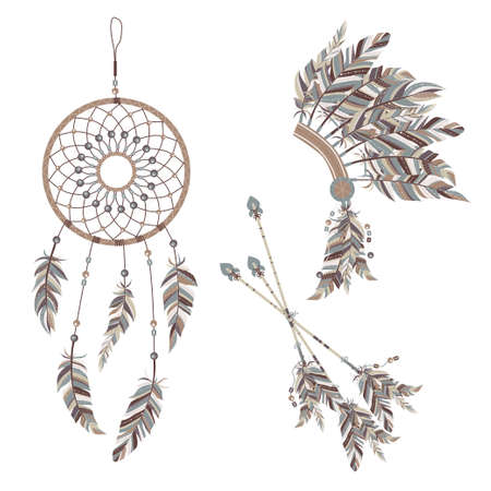 indian chief mascot: Dream catcher and Indian feather headdress. Three darts decorated with feathers.