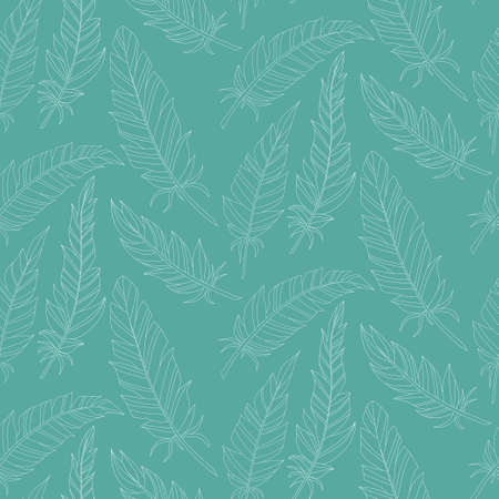 Seamless background vintage carved feathers. Pattern. White feathers on a colored background.