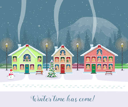 Winter time has come. Postcard with pretty houses in the snow. Decorated Christmas elements.
