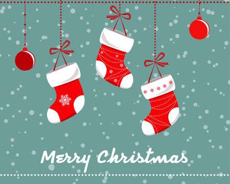Cute Christmas Socks set - vector holidays Illustration.