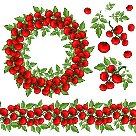 Wreath and brush from tomatoes. Decor elements. Illustration