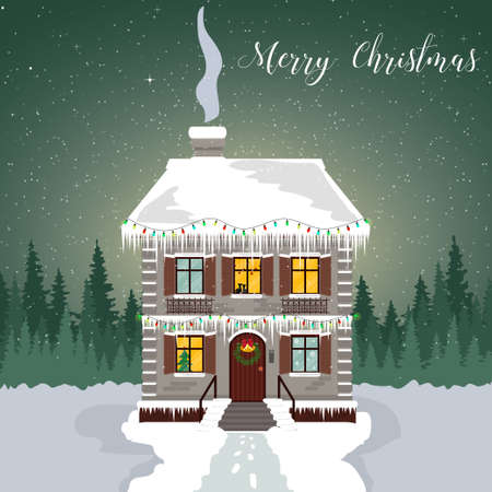 Winter night. Decorated house with garlands and icicles. Christmas card with a silhouette of the forest and the starry sky. Illustration