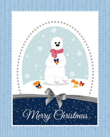 mandarins: Christmas card with a polar bear, which decorate mandarins beautiful bows.