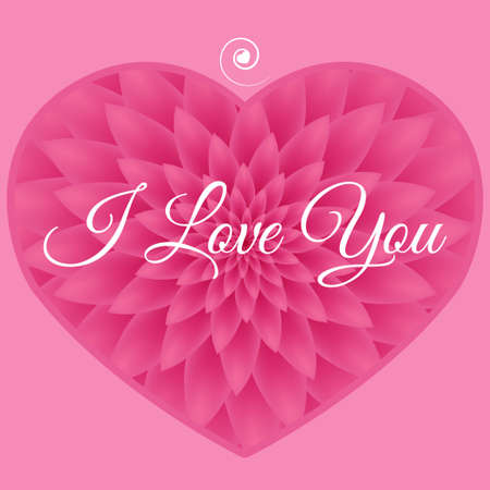 I love you card - Greeting Card with pink chrysanthemum in the background.
