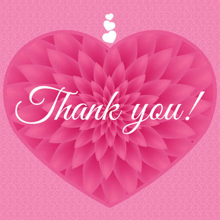 Thank you card - Greeting Card with pink chrysanthemum in the background.